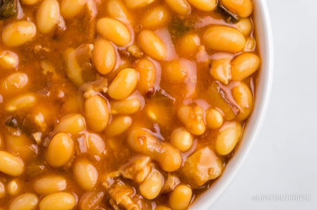 A close up photo of baked bean