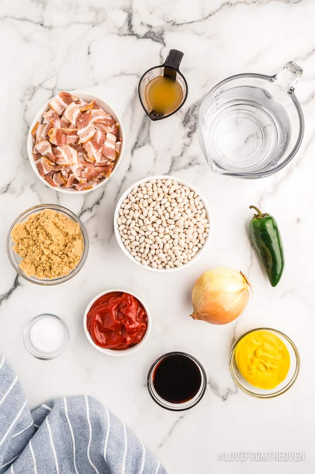 An overhead photo of ingredients for baked beans