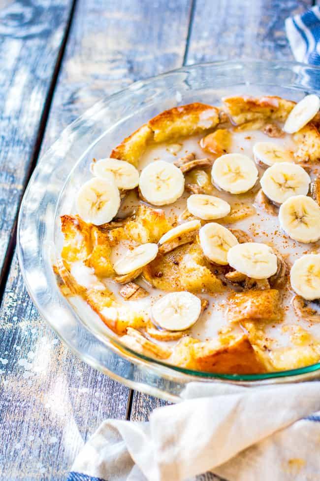 a dish of banana bread pudding