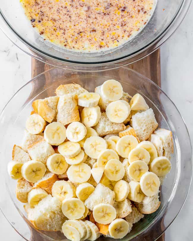 photos showing banana bread ingredients