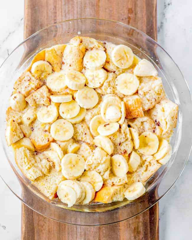 showing how to make banana bread pudding