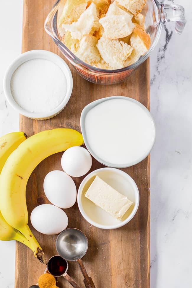 Ingredients for banana bread pudding