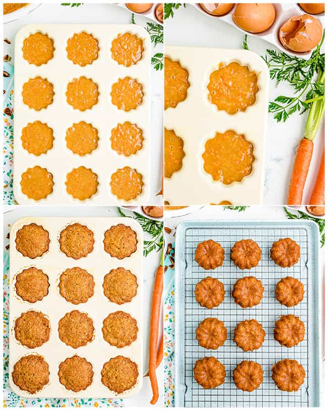 photos of carrot mini bundt cakes being made