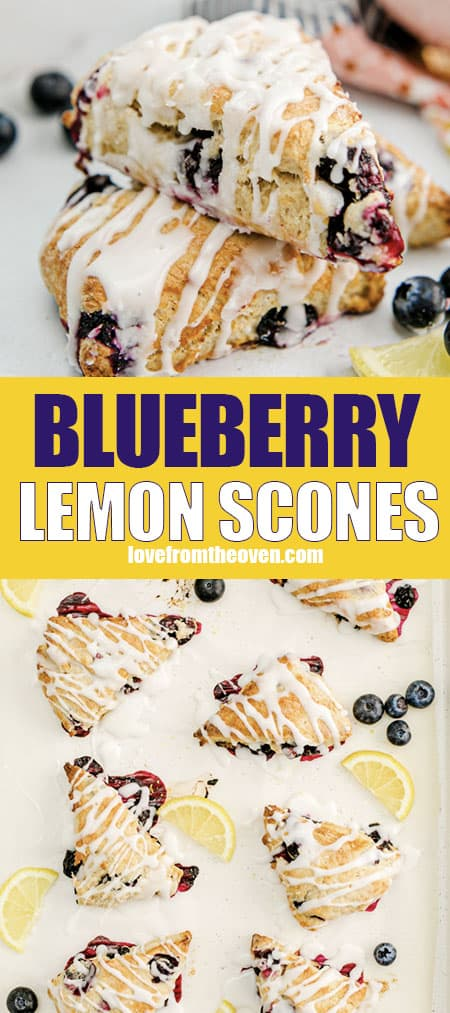 Photos of lemon blueberry scones on plates and baking sheets