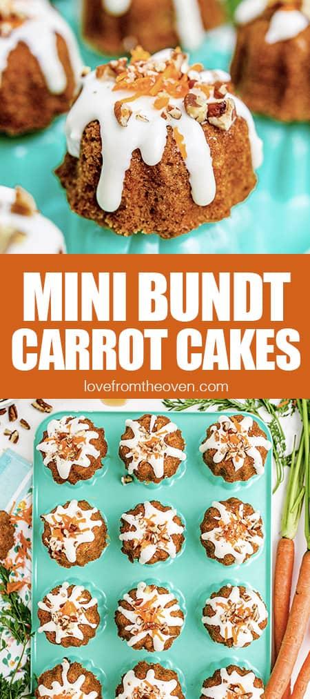 photos of mini carrot bundt cakes on a blue pan