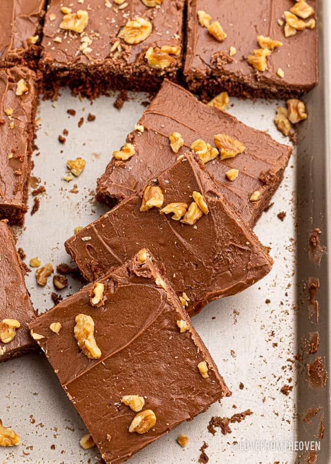 Chocolate cake bars on a baking sheet