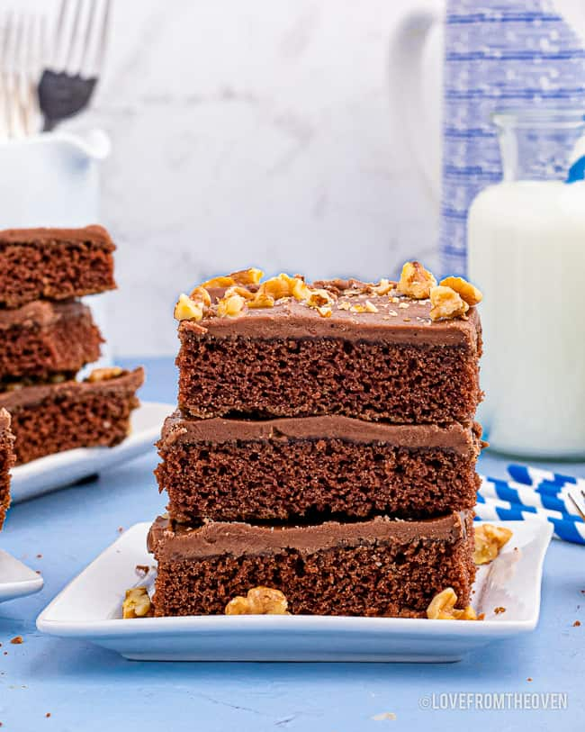 pieces of chocolate cake stacked