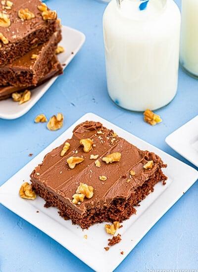 a slice of chocolate sheet cake