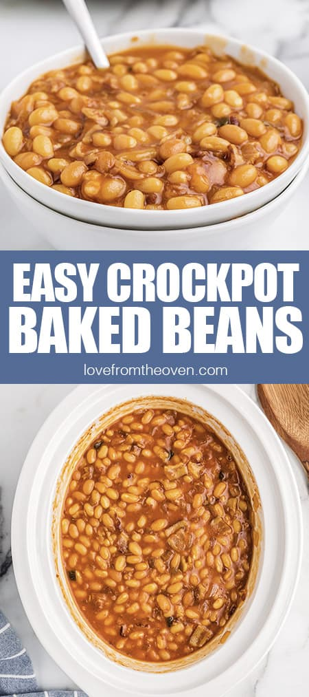 photos of baked beans in a bowl and a crockpot