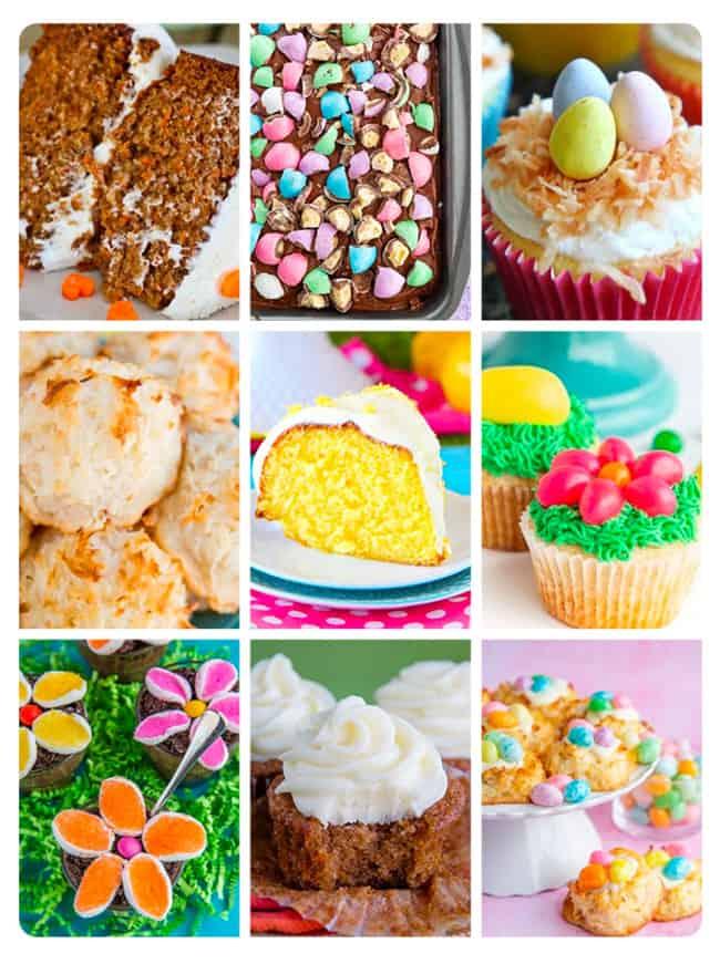 nine photos of easter desserts