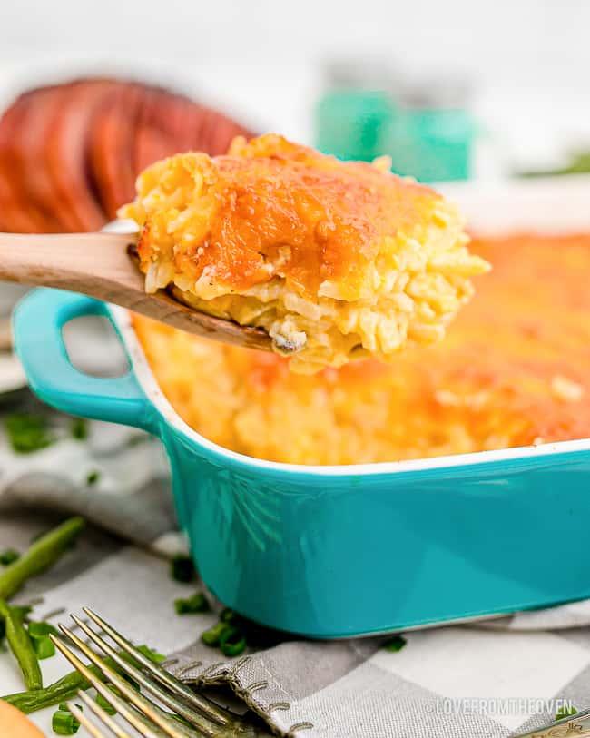 a spoonful of hashbrown breakfast casserole