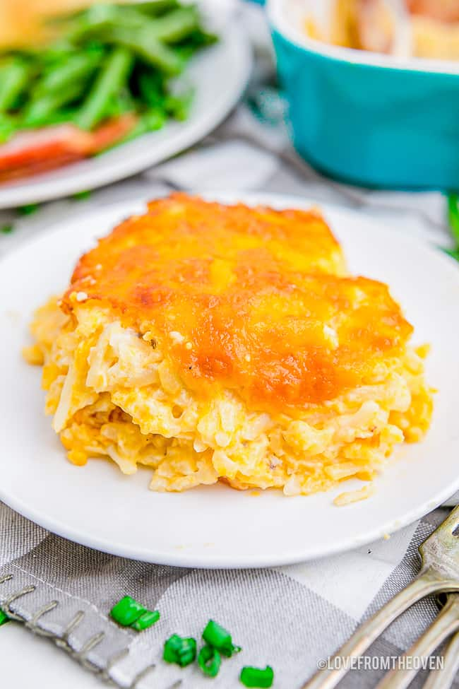a serving of cracker barrel hashbrown casserole on a white plate