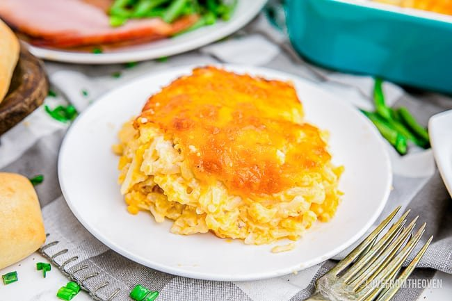 a plate of chessy cracker barrel hashbrown casserole
