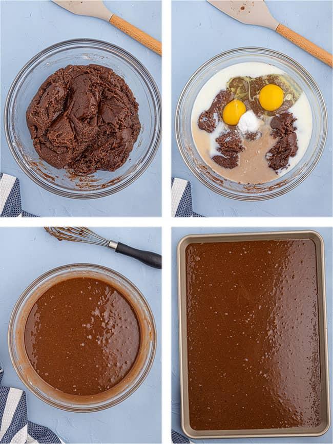 step by step photos to make chocolate sheet cake