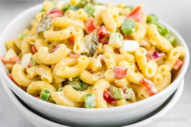A bowl of old fashioned macaroni salad
