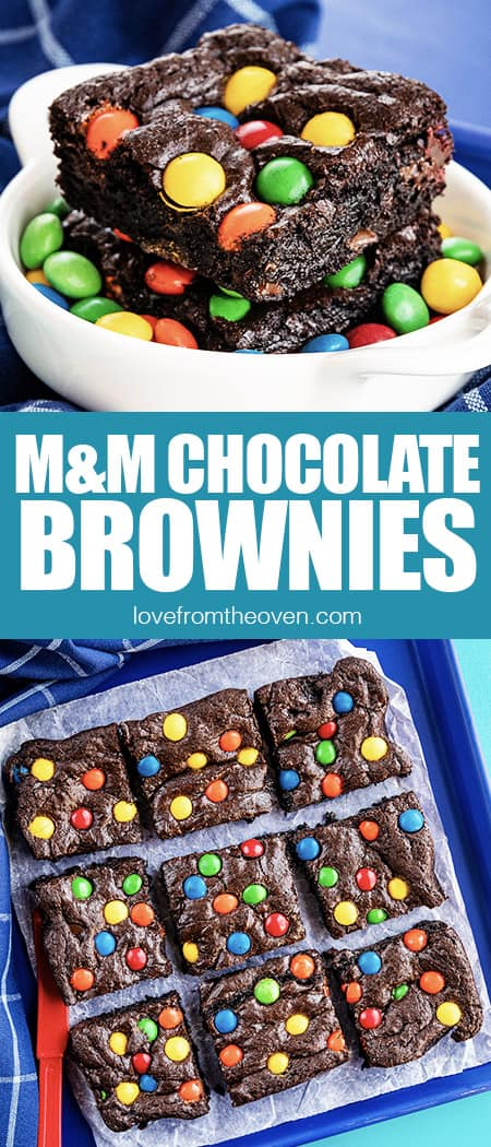 photos of chocolate brownies with M&M candies on top