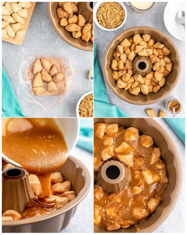 step by step photos showing how to make monkey bread