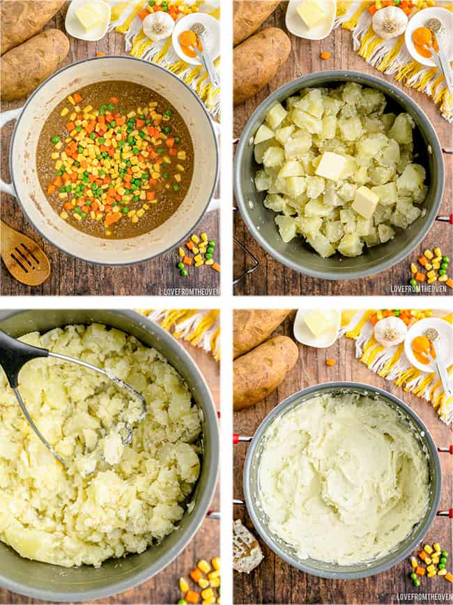 step by step photos making potatoes for shepards pie