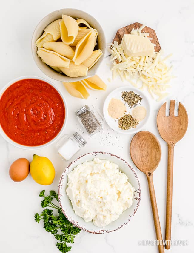 ingredients for making stuffed shells