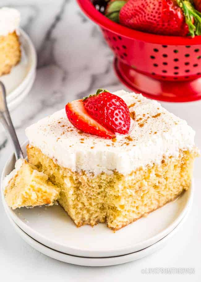 a slice of tres leches cake
