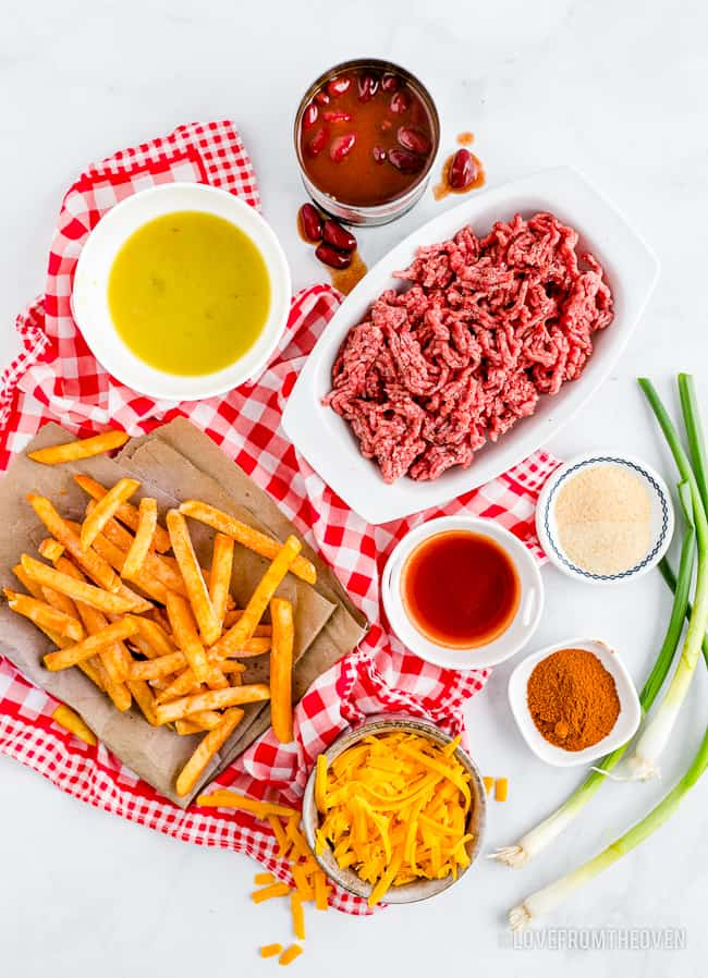 ingredients for making chili and cheese fries