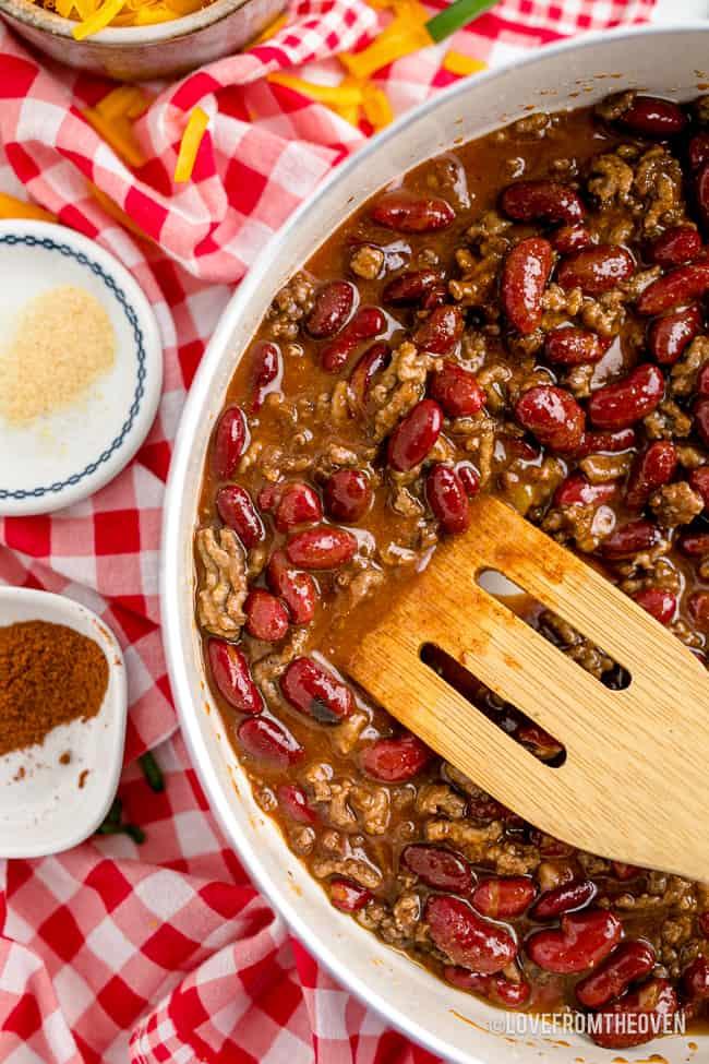 A pan of chili