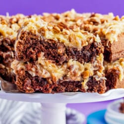 A close up of a slice of bakers german chocolate cake