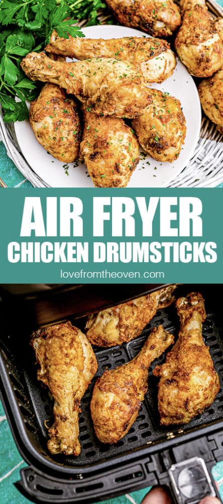 photos of chicken drumsticks on a plate and in an air fryer
