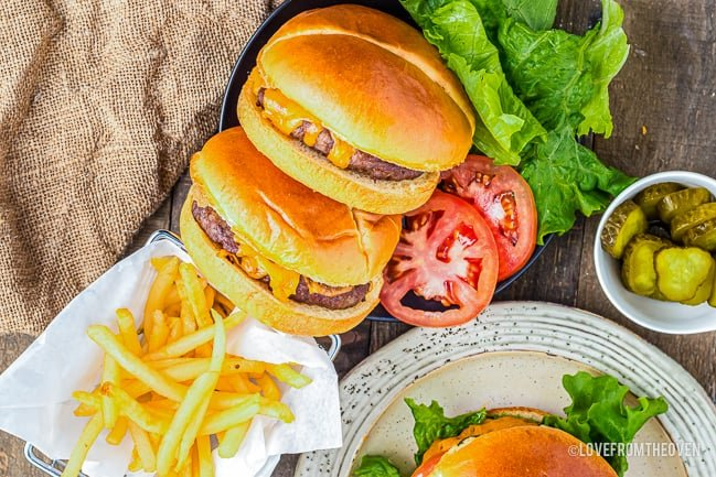cheeseburgers and fries