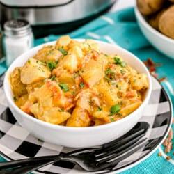 A bowl of cheesy ranch potatoes