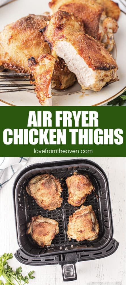 chicken thighs in an air fryer and on a plate