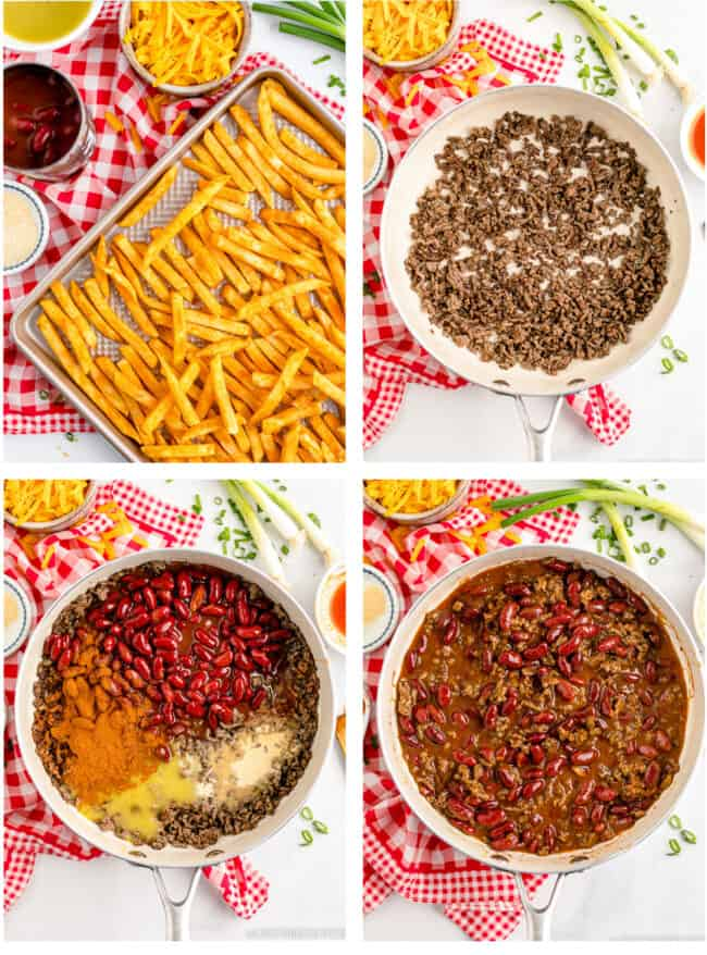 step by step photos showing how to make chili cheese fries
