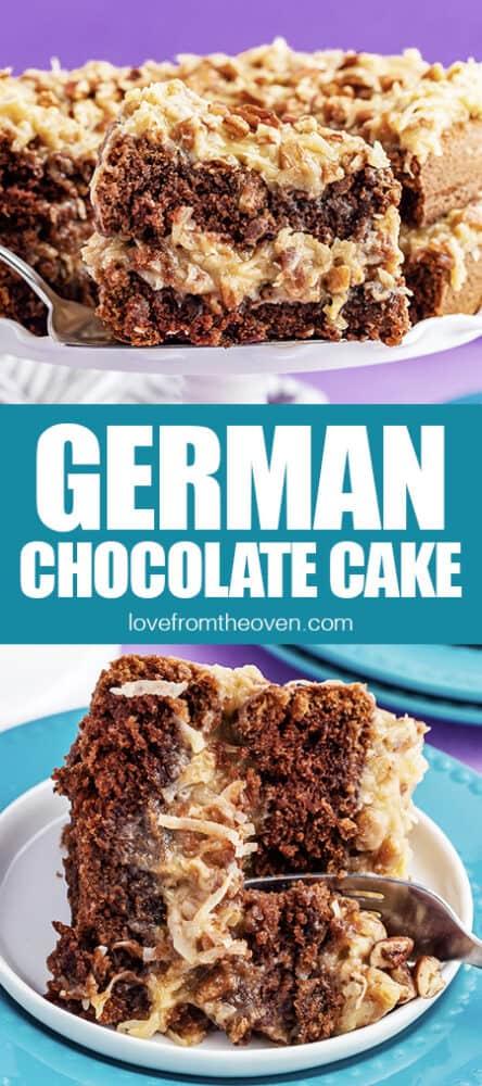 photos of a bakers german chocolate cake