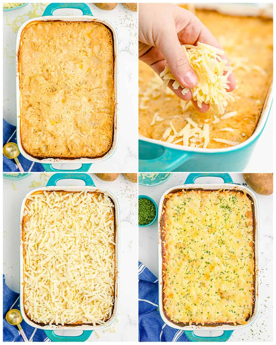 photos of scalloped potatoes in a blue casserole dish