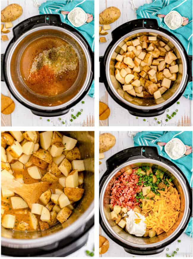 photos showing cheesy potatoes being made in an instant pot