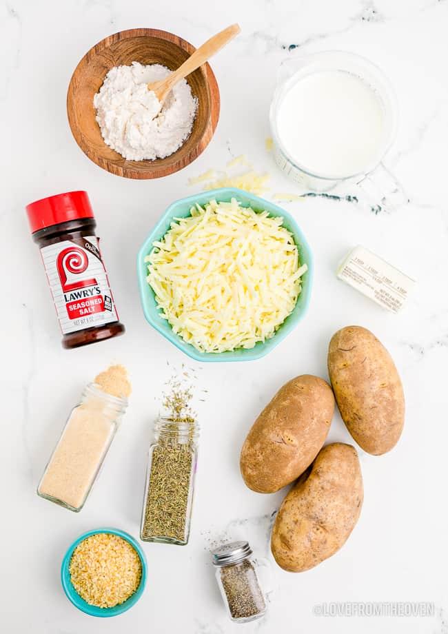 Ingredients to make scalloped potatoes