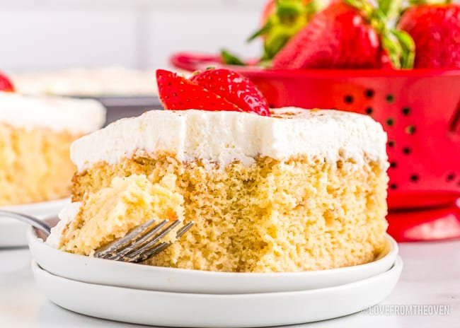 a slice of tres leches cake with a red container behind it