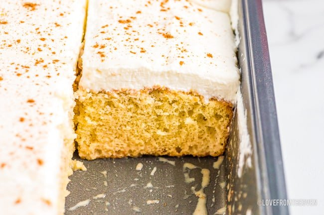 tres leches cake in a pan