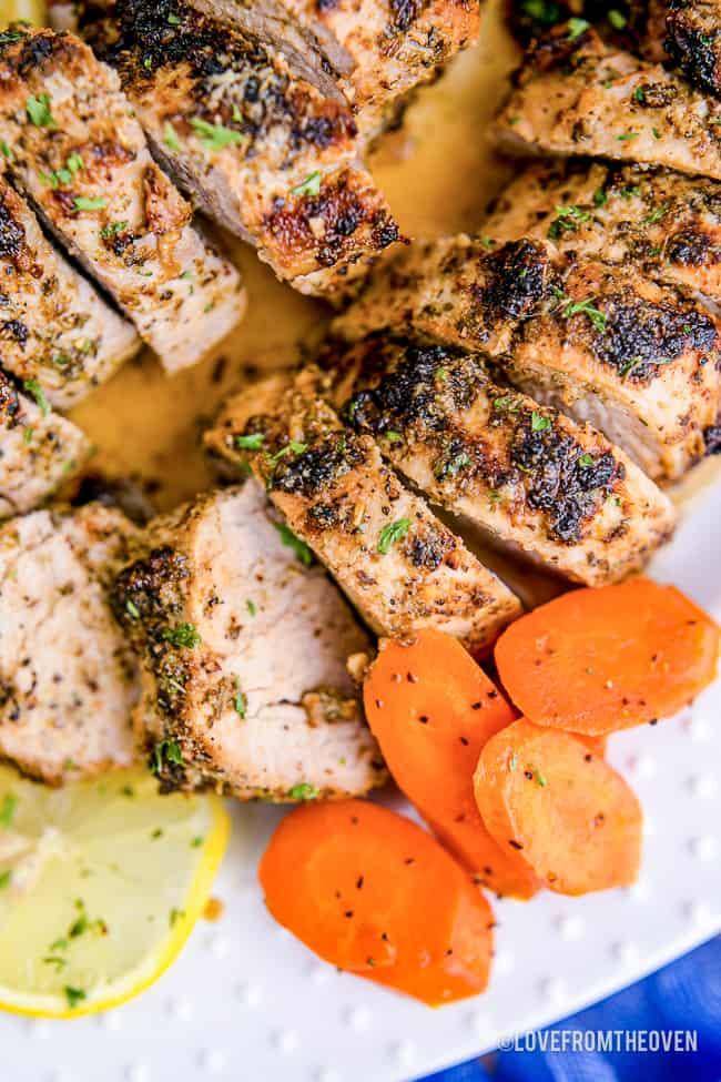 A close up of a pork tenderloin