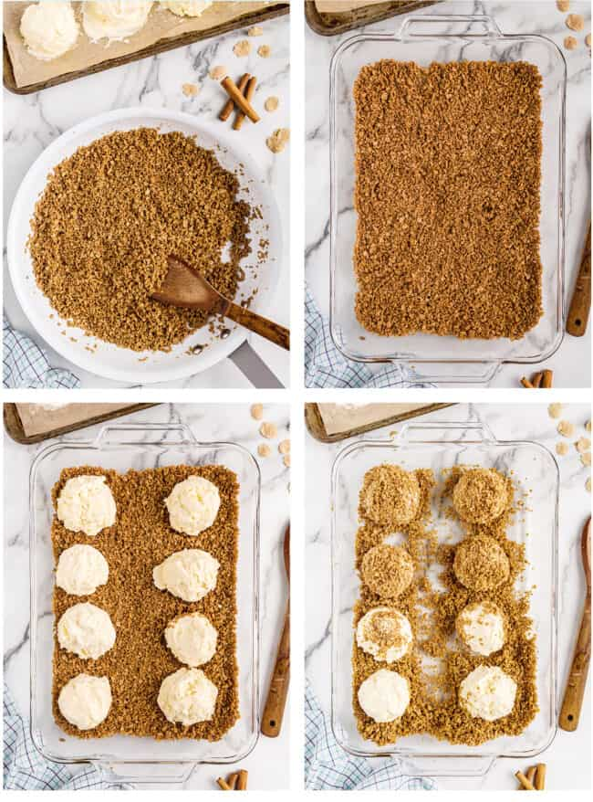 photos showing how to make fried ice cream