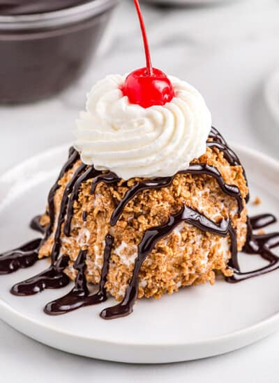 fried ice cream on a white plate