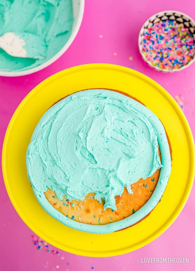 Homemade frosting on a cake