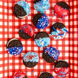 Red and blue chocolate dipped oreos
