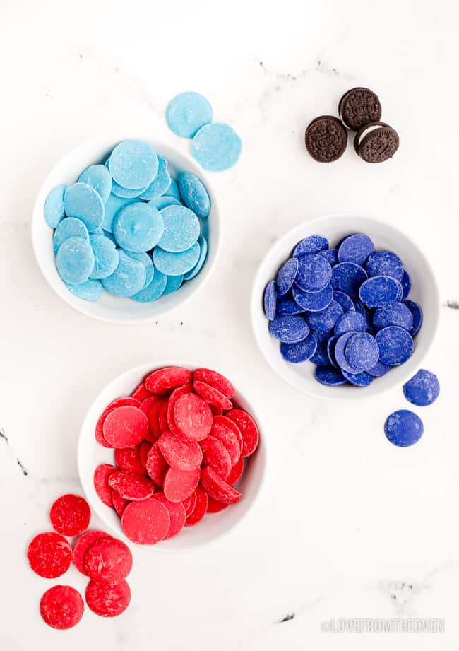 candy melts in bowls