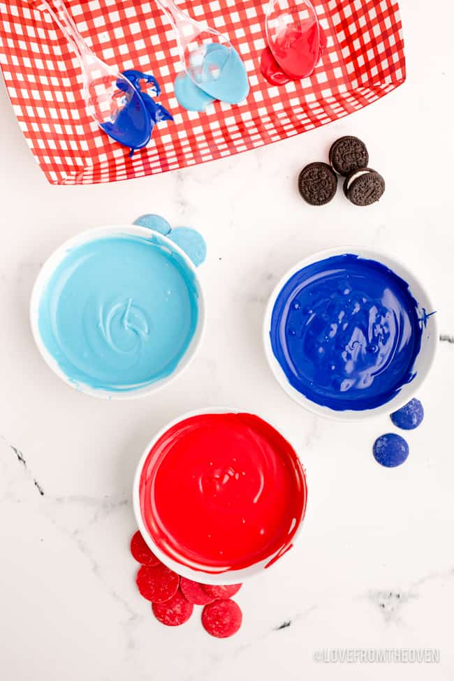 bowls of melted candy coating