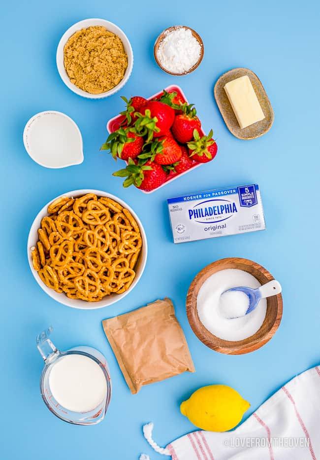 Ingredients to make strawberry pretzel dessert