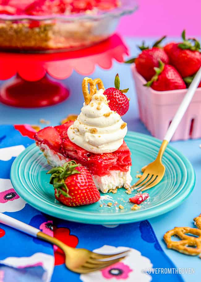 strawberry pretzel salad on a colorful table