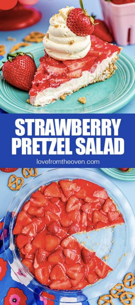 photos of a strawberry pretzel salad pie