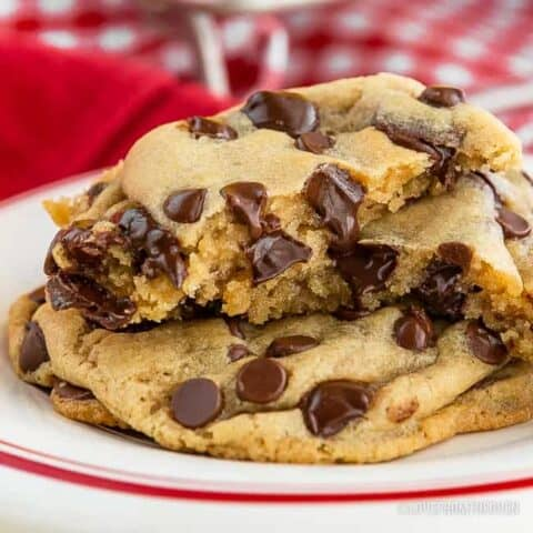Chocolate chip cookies on a plate.