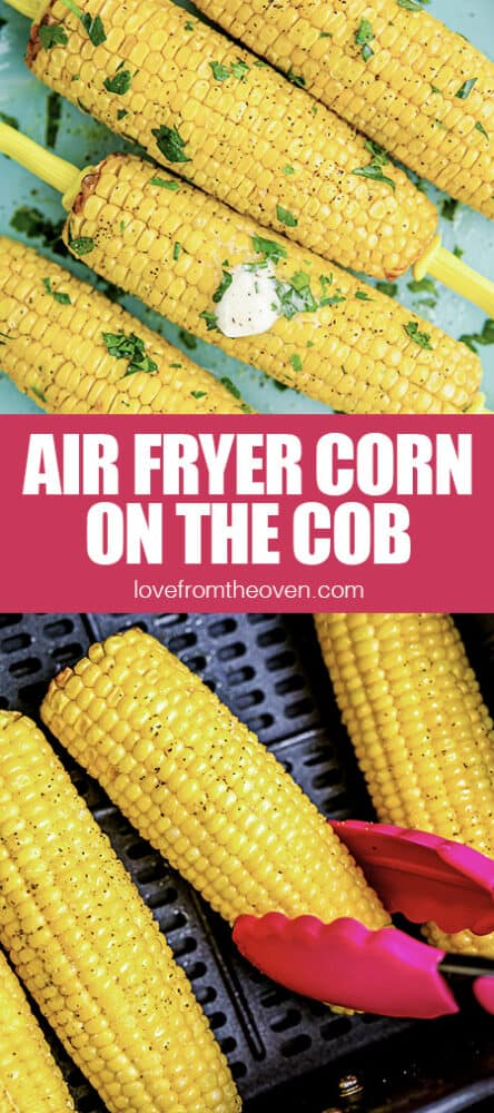A photo of corn on the cob in an air fryer.